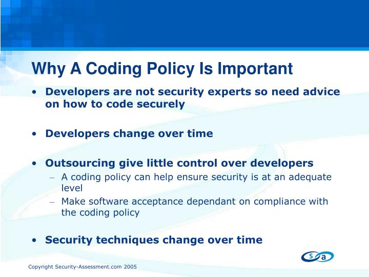 Why A Coding Policy Is Important