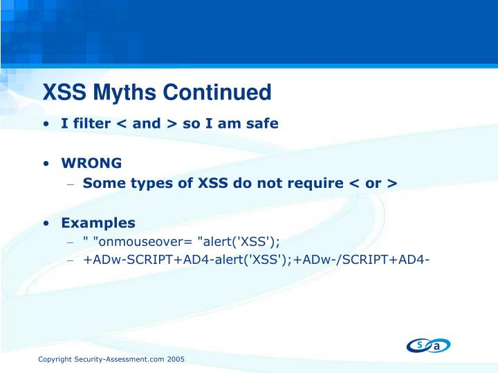 XSS Myths Continued