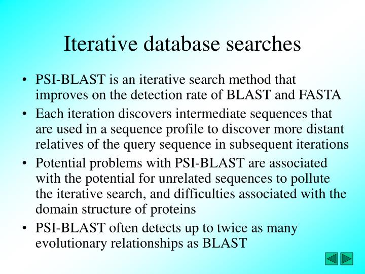 Iterative database searches