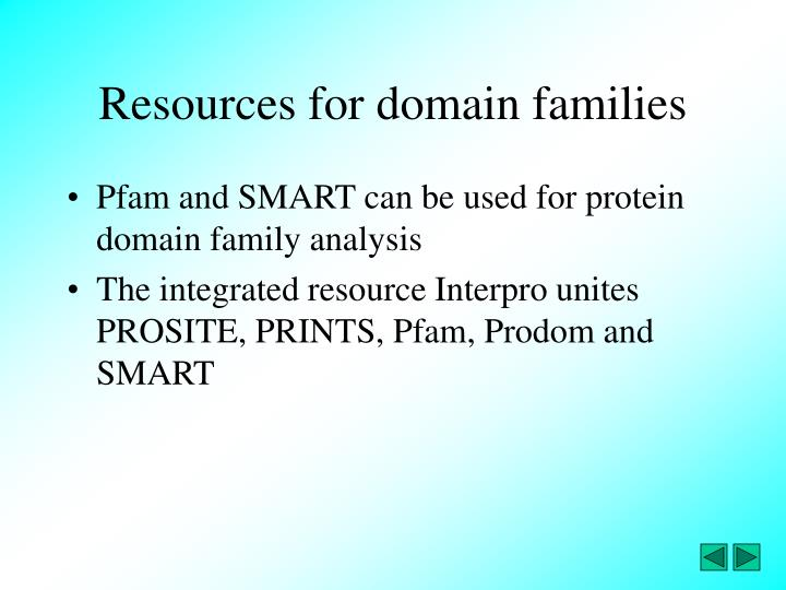 Resources for domain families