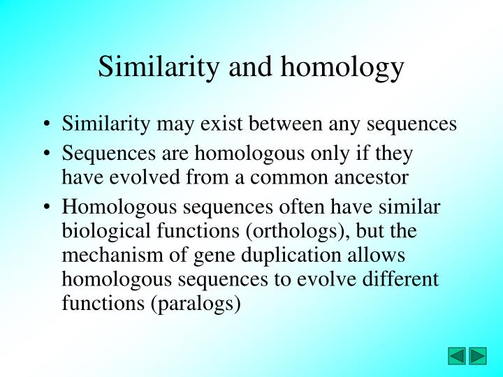 Similarity and homology