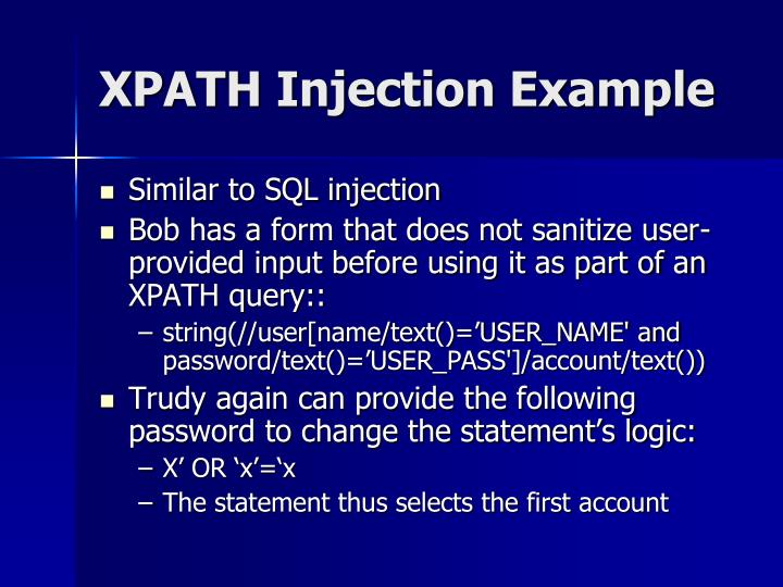 XPATH Injection Example