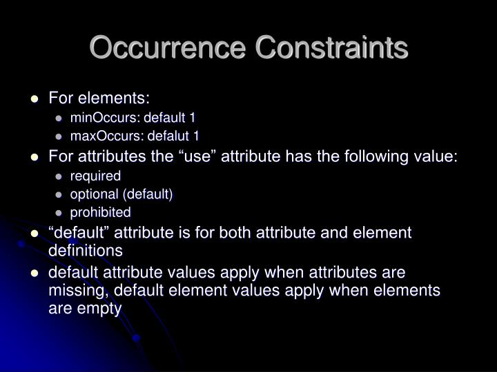 Occurrence Constraints