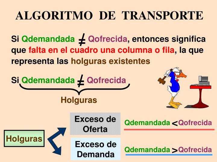 ALGORITMO  DE  TRANSPORTE