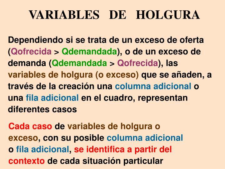 VARIABLES   DE   HOLGURA
