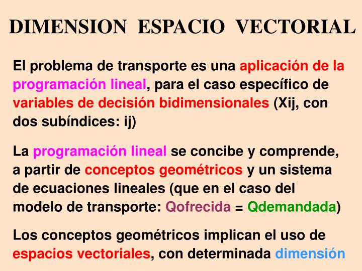 DIMENSION  ESPACIO  VECTORIAL