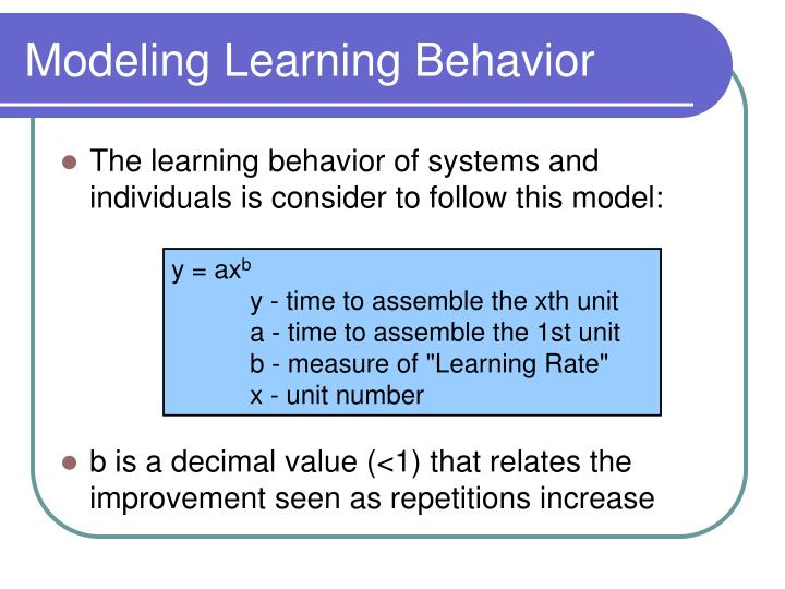 Modeling learning behavior