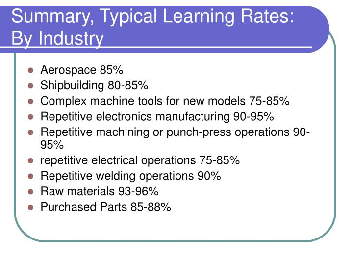 Summary, Typical Learning Rates: By Industry