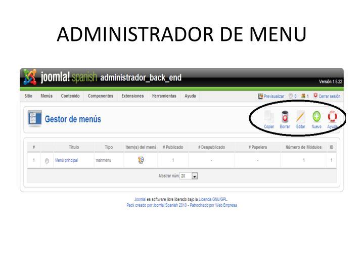 ADMINISTRADOR DE MENU