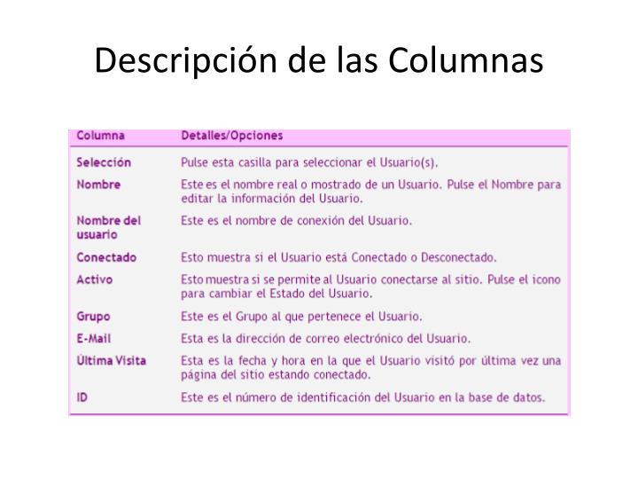 Descripción de las Columnas