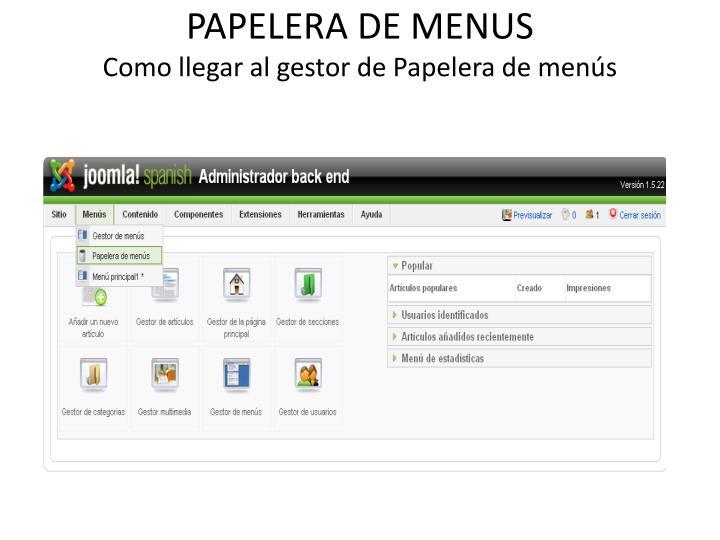 PAPELERA DE MENUS