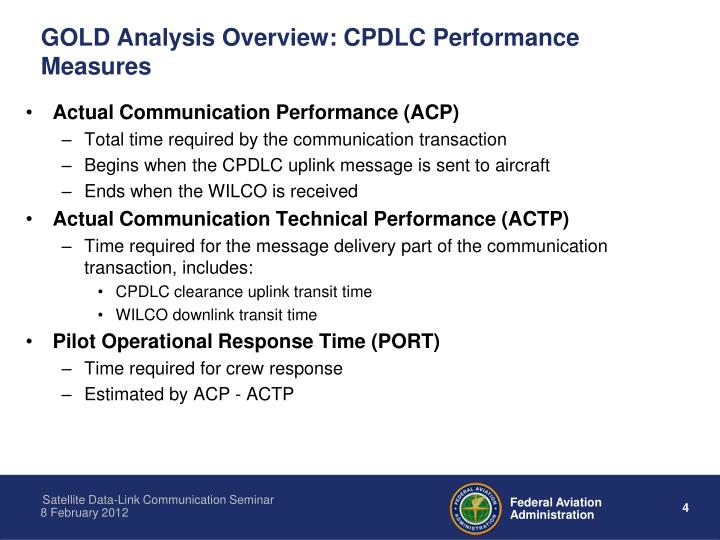 GOLD Analysis Overview: CPDLC Performance Measures