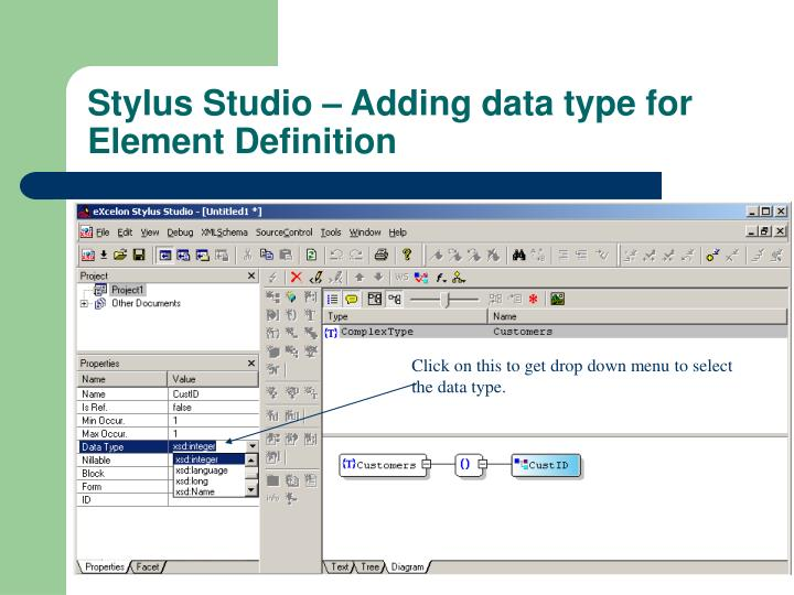 Click on this to get drop down menu to select the data type.
