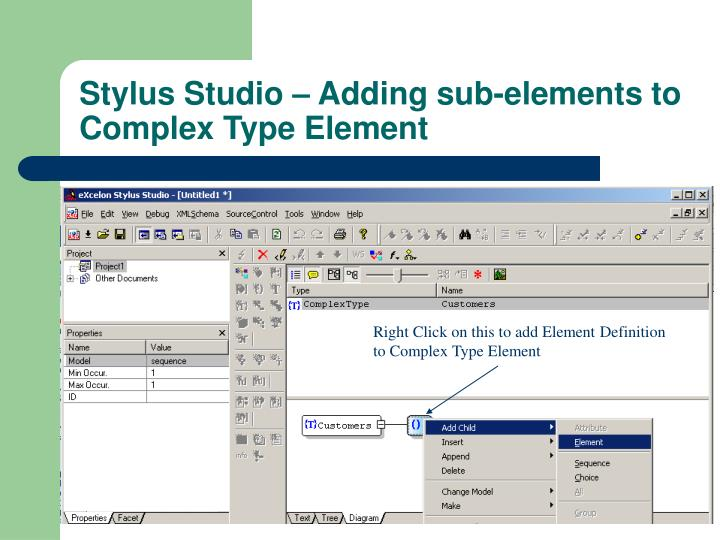 Right Click on this to add Element Definition  to Complex Type Element