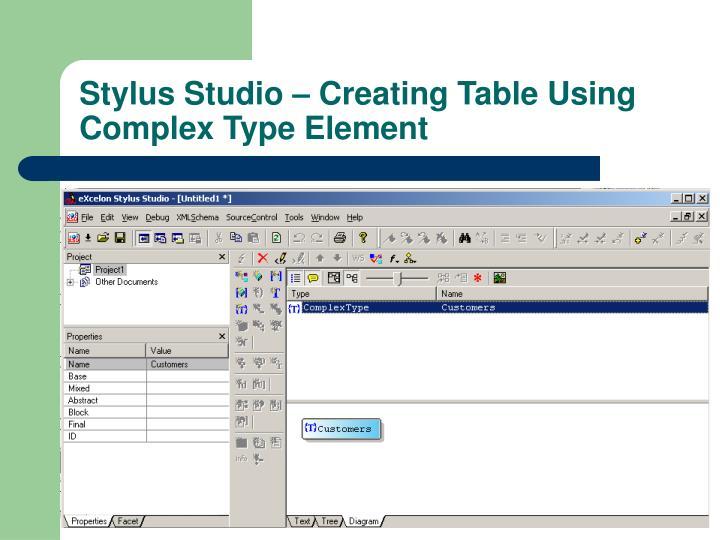 Stylus Studio – Creating Table Using Complex Type Element
