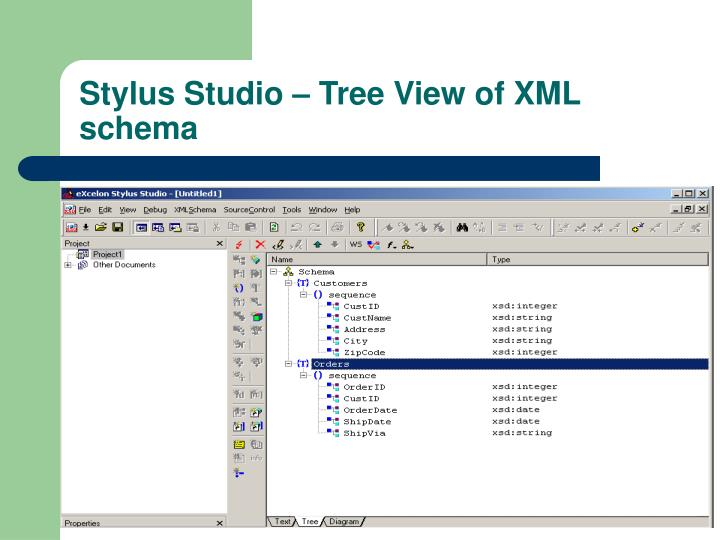 Stylus Studio – Tree View of XML schema