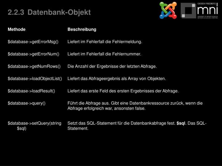 2.2.3Datenbank-Objekt
