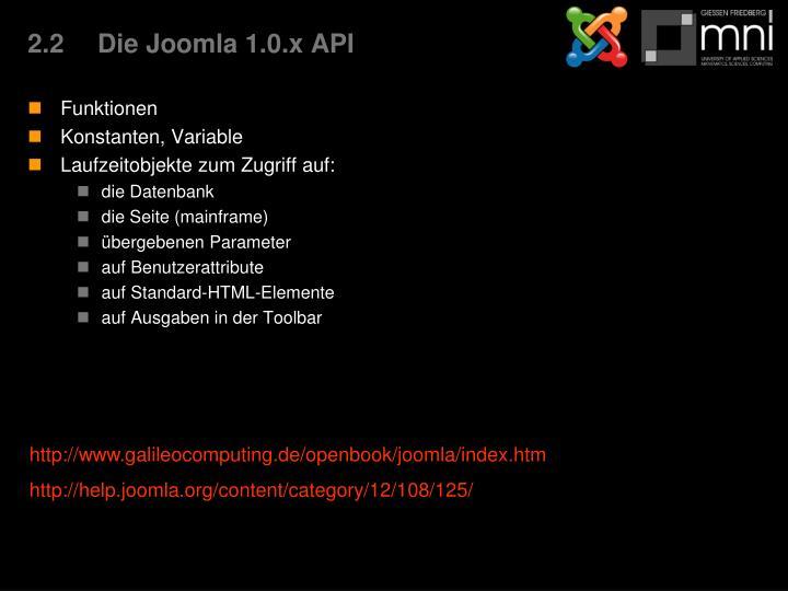 2.2Die Joomla 1.0.x API