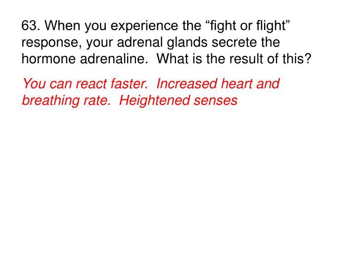 "63. When you experience the ""fight or flight"" response, your adrenal glands secrete the hormone adrenaline.  What is the result of this?"