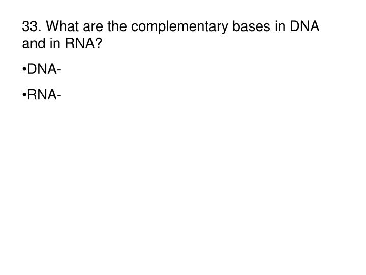 33. What are the complementary bases in DNA and in RNA?
