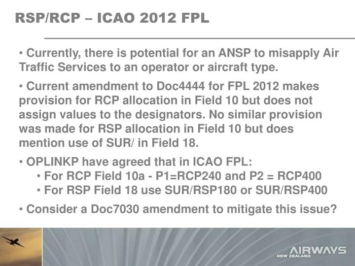 RSP/RCP – ICAO 2012 FPL