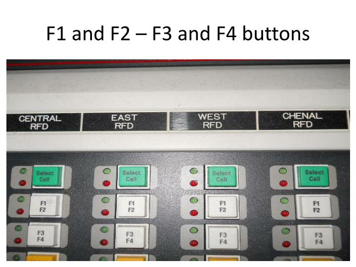 F1 and F2 – F3 and F4 buttons