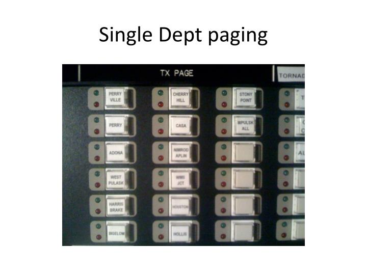 Single Dept paging