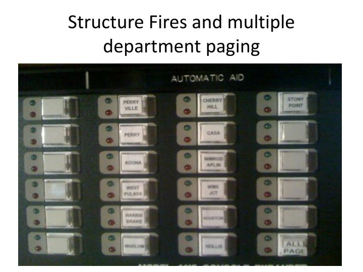 Structure Fires and multiple department paging