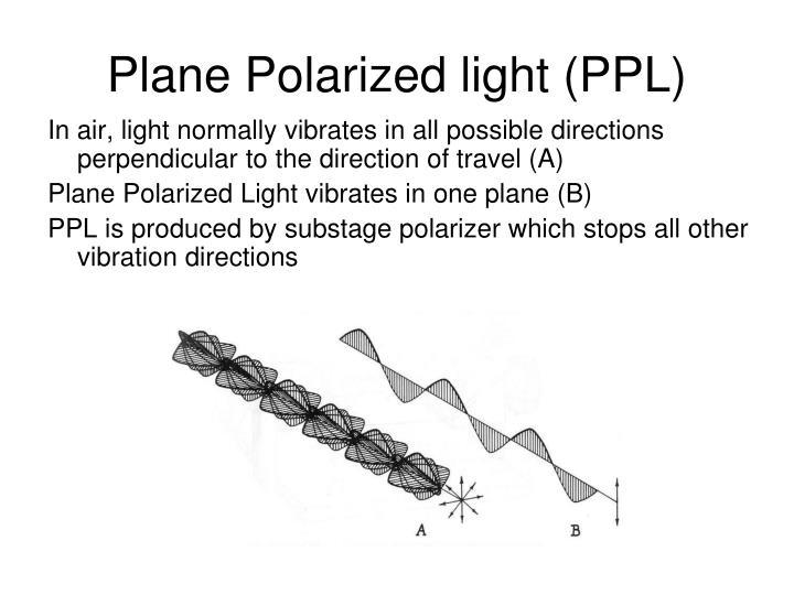 Plane Polarized light (PPL)