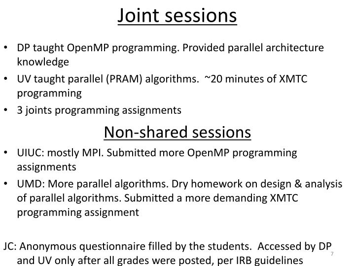 Joint sessions
