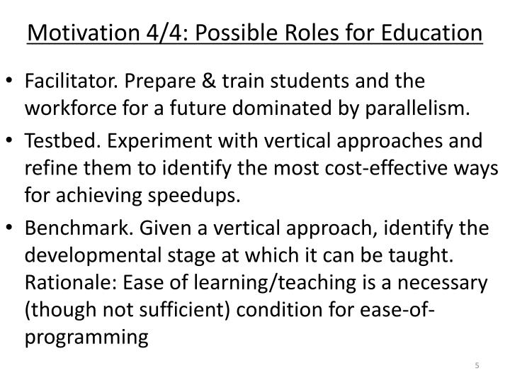 Motivation 4/4: Possible Roles for Education