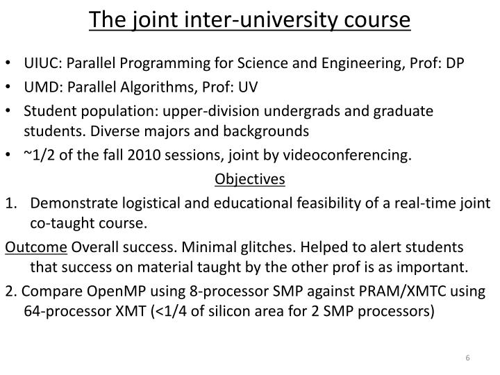 The joint inter-university course