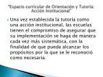 espacio curricular de orientaci n y tutor a acci n institucional