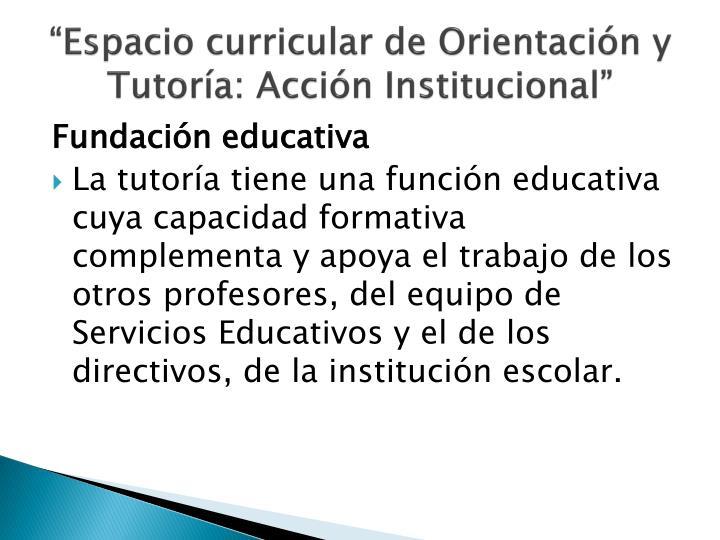 """""""Espacio curricular de Orientación y Tutoría: Acción Institucional"""""""