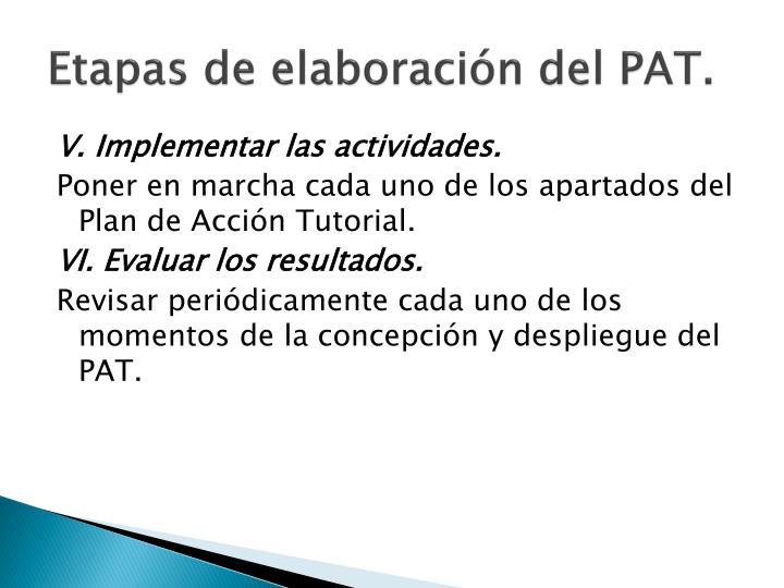 Etapas de elaboración del PAT.