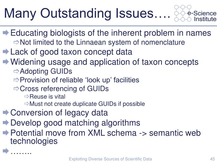 Many Outstanding Issues….