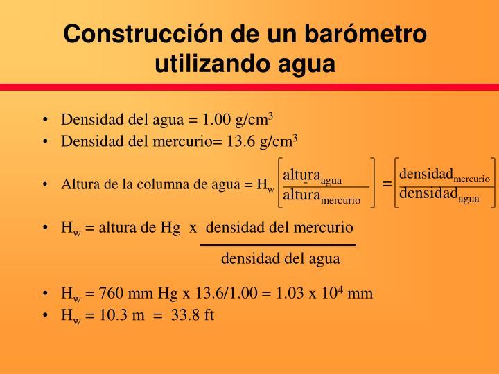 Construcción de un barómetro utilizando agua