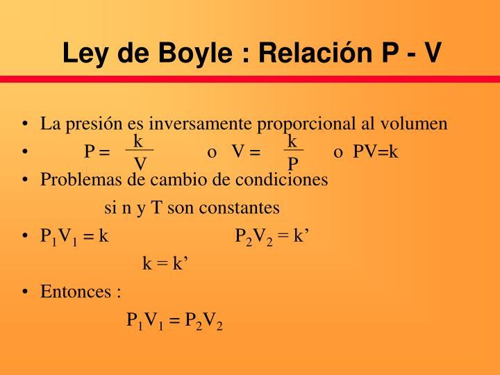 Ley de Boyle : Relación P - V