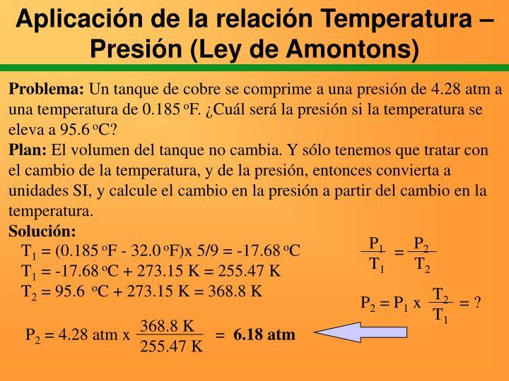 Aplicación de la relación Temperatura – Presión (Ley de Amontons)