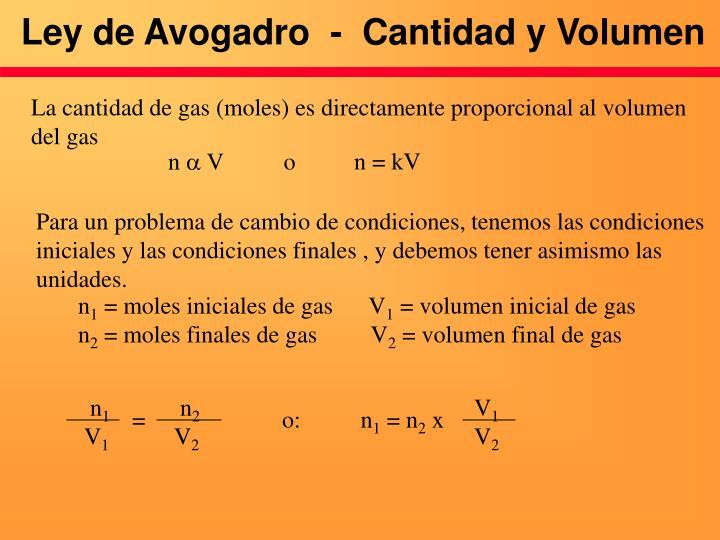 Ley de Avogadro  -  Cantidad y Volumen