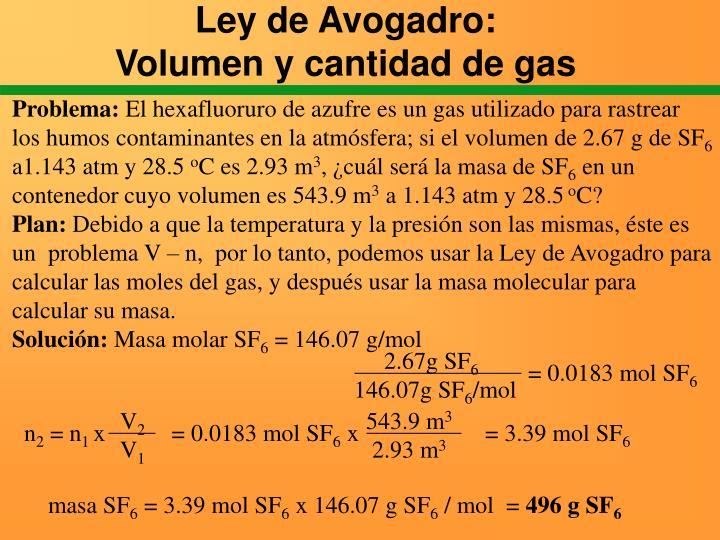 Ley de Avogadro: