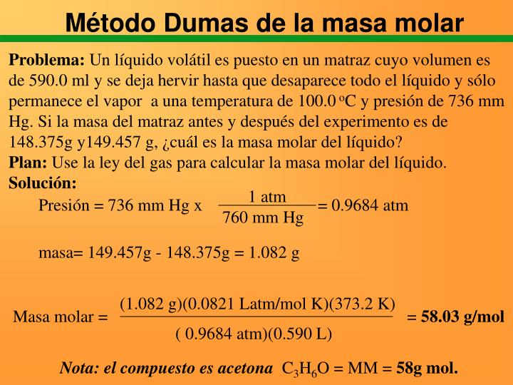 Método Dumas de la masa molar