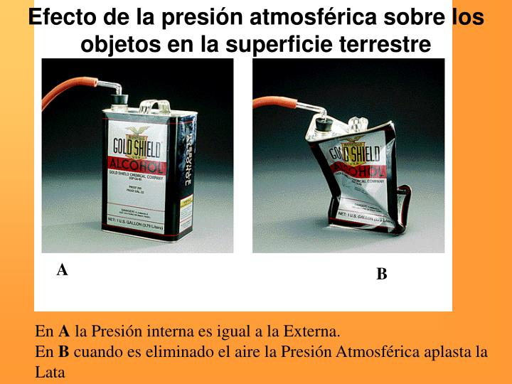 Efecto de la presión atmosférica sobre los objetos en la superficie terrestre