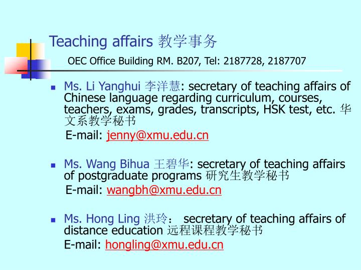 Teaching affairs