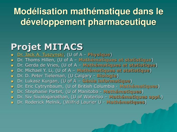 Modélisation mathématique dans le développement pharmaceutique