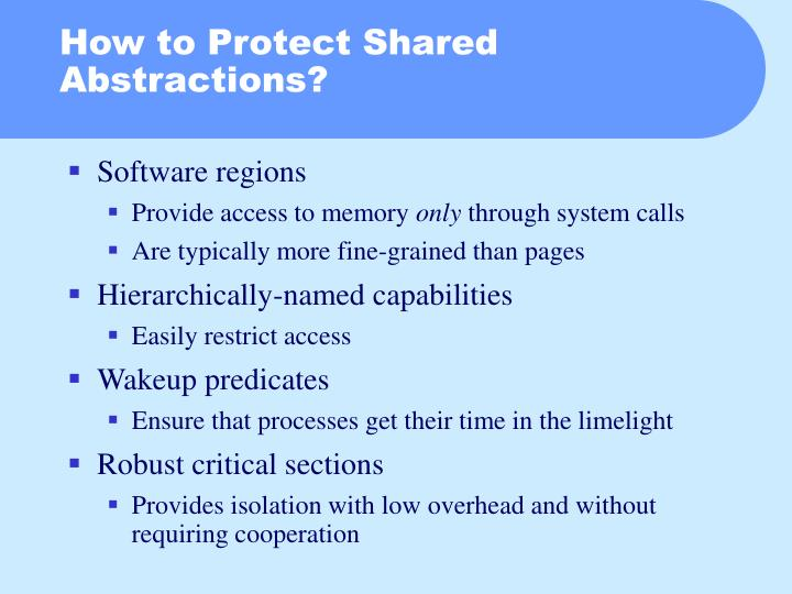 How to Protect Shared Abstractions?