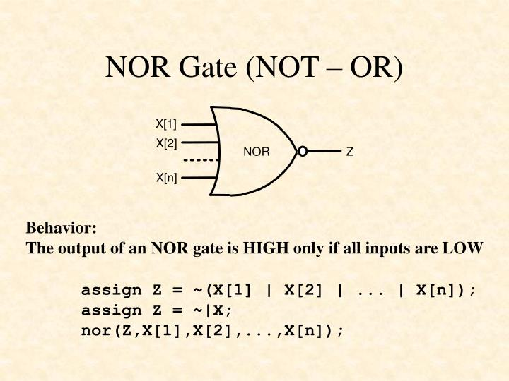 NOR Gate (NOT – OR)