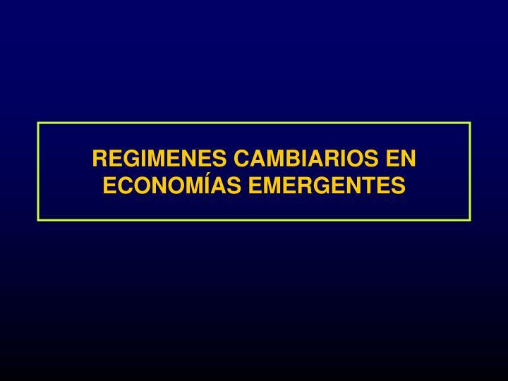 REGIMENES CAMBIARIOS EN  ECONOMÍAS EMERGENTES