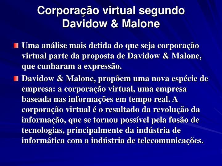 Corporação virtual segundo Davidow & Malone