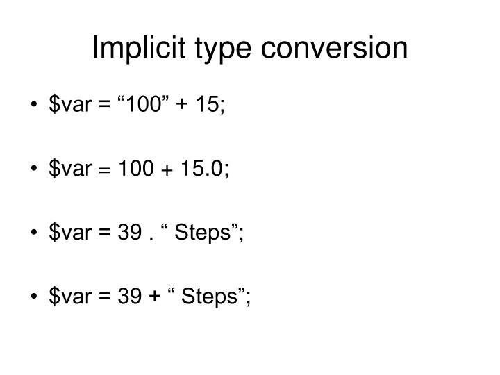 Implicit type conversion